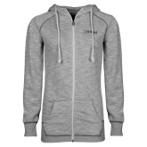 ENZA Ladies Grey/Black Marled Full Zip Hoodie-Eureka College w/ Shield