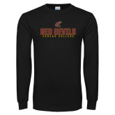 Black Long Sleeve T Shirt-Red Devils Eureka College Stacked