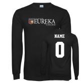 Black Long Sleeve T Shirt-Eureka College w/ Shield, Custom tee w/ name and #