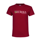 Youth Maroon T Shirt-Eureka College w/ Shield