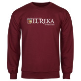Maroon Fleece Crew-Eureka College w/ Shield