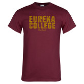 Maroon T Shirt-Block Text Distressed