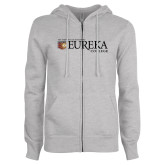ENZA Ladies Grey Fleece Full Zip Hoodie-Eureka College w/ Shield