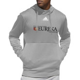 Adidas Grey Team Issue Hoodie-Eureka College w/ Shield