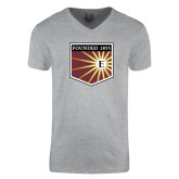 Next Level V Neck Heather Grey T Shirt-Shield