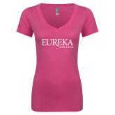 Next Level Ladies Junior Fit Ideal V Pink Tee-Wordmark