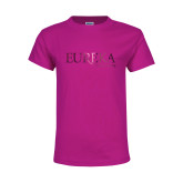 Youth Cyber Pink T Shirt-Wordmark Foil