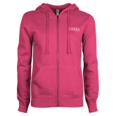 ENZA Ladies Fuchsia Fleece Full Zip Hoodie-Wordmark