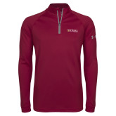 Under Armour Maroon Tech 1/4 Zip Performance Shirt-Eureka College w/ Shield