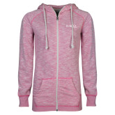 ENZA Ladies Hot Pink Marled Full Zip Hoodie-Wordmark