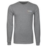 Grey Long Sleeve T Shirt-Eureka College w/ Shield