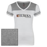 Ladies White/Heathered Grey Juniors Varsity V Neck Tee-Eureka College w/ Shield