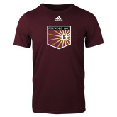 Adidas Maroon Logo T Shirt-Shield