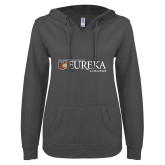 ENZA Ladies Dark Heather V Notch Raw Edge Fleece Hoodie-Eureka College w/ Shield