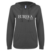 ENZA Ladies Dark Heather V Notch Raw Edge Fleece Hoodie-Wordmark
