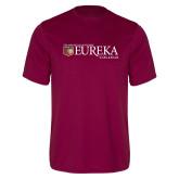 Performance Maroon Tee-Eureka College w/ Shield