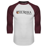 White/Maroon Raglan Baseball T Shirt-Eureka College w/ Shield