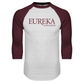 White/Maroon Raglan Baseball T Shirt-Wordmark