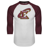 White/Maroon Raglan Baseball T Shirt-Primary Athletic Mark