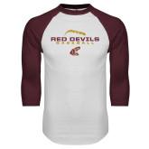 White/Maroon Raglan Baseball T Shirt-Baseball Seams