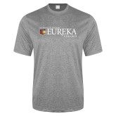 Performance Grey Heather Contender Tee-Eureka College w/ Shield