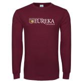 Maroon Long Sleeve T Shirt-Eureka College w/ Shield