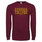 Maroon Long Sleeve T Shirt-Block Text Distressed