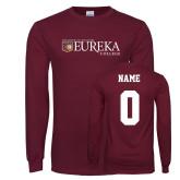 Maroon Long Sleeve T Shirt-Eureka College w/ Shield, Custom tee w/ name and #