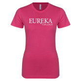 Next Level Ladies SoftStyle Junior Fitted Fuchsia Tee-Wordmark