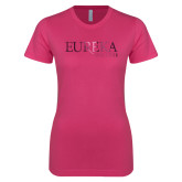 Next Level Ladies SoftStyle Junior Fitted Fuchsia Tee-Wordmark Foil