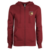 ENZA Ladies Maroon Fleece Full Zip Hoodie-Shield