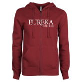 ENZA Ladies Maroon Fleece Full Zip Hoodie-Wordmark