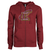 ENZA Ladies Maroon Fleece Full Zip Hoodie-Primary Athletic Mark