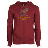 ENZA Ladies Maroon Fleece Full Zip Hoodie-Golf