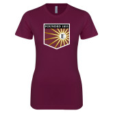 Next Level Ladies SoftStyle Junior Fitted Maroon Tee-Shield
