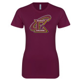 Next Level Ladies SoftStyle Junior Fitted Maroon Tee-Primary Athletic Mark