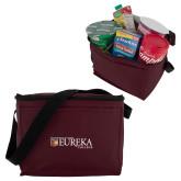 Six Pack Maroon Cooler-Eureka College w/ Shield