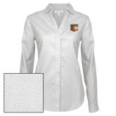 Ladies Red House Diamond Dobby White Long Sleeve Shirt-Shield