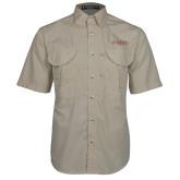 Khaki Short Sleeve Performance Fishing Shirt-Wordmark