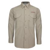 Khaki Long Sleeve Performance Fishing Shirt-Wordmark