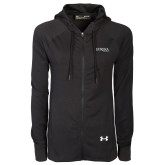 Ladies Under Armour Black Varsity Full Zip Hoodie-Wordmark
