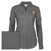 Ladies Red House Diamond Dobby Charcoal Long Sleeve Shirt-Shield