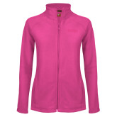 Ladies Fleece Full Zip Raspberry Jacket-Wordmark