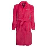 Ladies Pink Raspberry Plush Microfleece Shawl Collar Robe-Wordmark