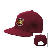 Maroon Flat Bill Snapback Hat-Shield