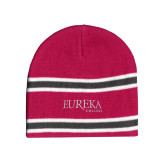 Pink/Charcoal/White Striped Knit Beanie-Wordmark