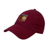 Maroon Twill Unstructured Low Profile Hat-Shield