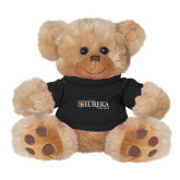 Plush Big Paw 8 1/2 inch Brown Bear w/Black Shirt-Eureka College w/ Shield
