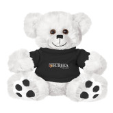 Plush Big Paw 8 1/2 inch White Bear w/Black Shirt-Eureka College w/ Shield
