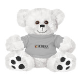 Plush Big Paw 8 1/2 inch White Bear w/Grey Shirt-Eureka College w/ Shield